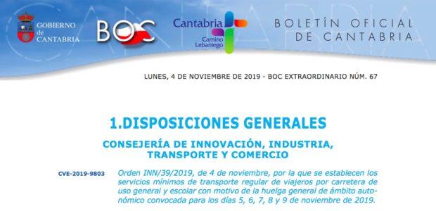 Servicios Minimos Huelga Transporte Cantabria